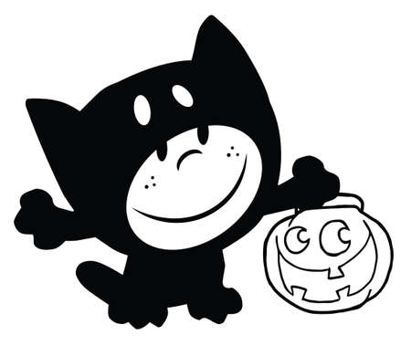 Outlined Child Dressed In Cat Suit And Pumpkin In Hand Vector