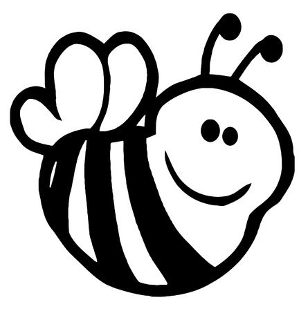 pollinator: Outlined Bee Cartoon Character