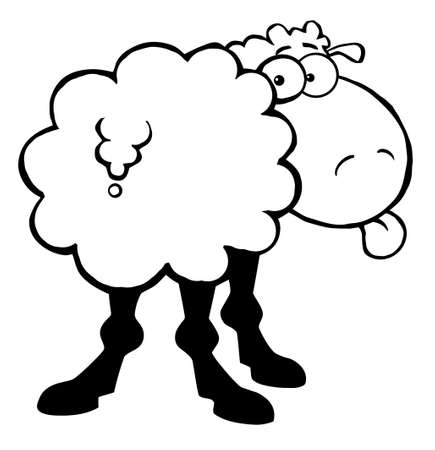 Outlined Funky Sheep Sticking Out His Tongue Vector