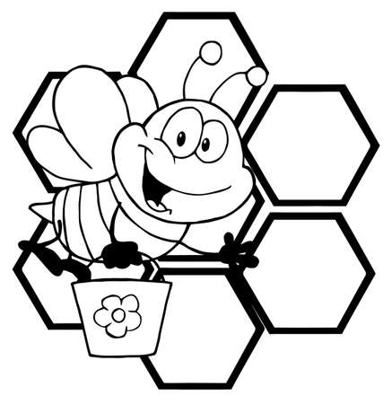 Outlined Bee Cartoon Character In Front Of A Orange Bee Hives Vector