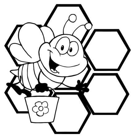 honeybee: Outlined Bee Cartoon Character In Front Of A Orange Bee Hives