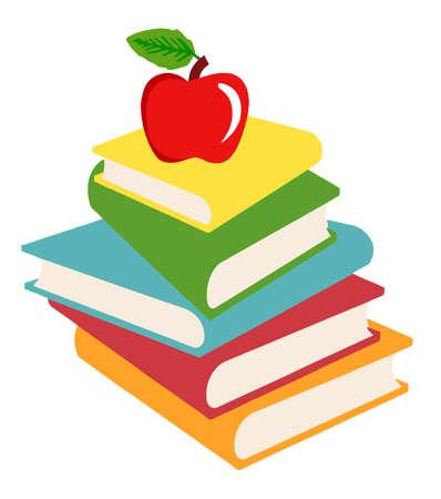 Elementary School Design Books And Apple Stock Vector - 16446194