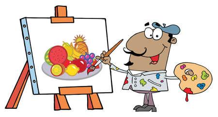 renders: Happy Hispanic Artist Painter