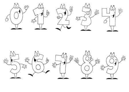 number cartoon: Friendly Outlined Cartoon Numbers Set Illustration