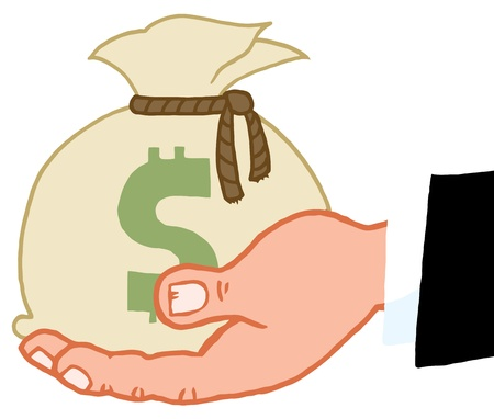 give: Hand Holding Money Bag Illustration