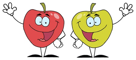 Happy Cartoon Apples Waving A Greeting