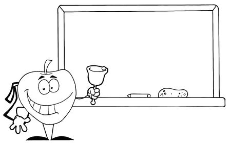 Outlined Apple Ringing A Bell Vector