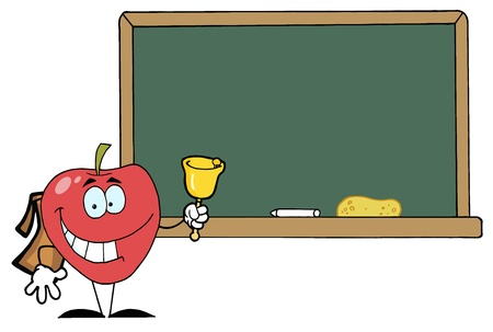 Apple Ringing A Bell In Front A School Chalk Board Stock Vector - 16446271