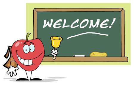 ベルを鳴らしている前のテキストを持つ学校の理事会リンゴ-ようこそ
