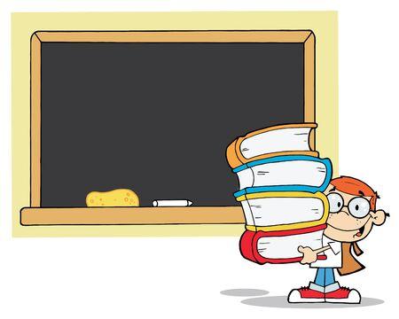 School Boy Carrying Books In Front Of School Chalk Board