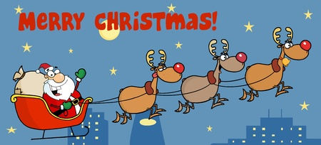 Christmas Greeting With Santa Sleigh And Reindeer Vector