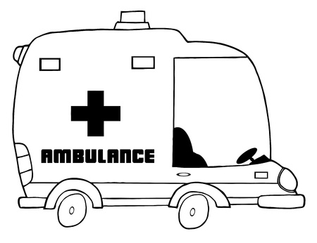 Outlined Cartoon Ambulance