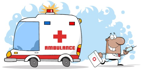 medical equipment: Doctor Running With A Syringe And Bag From Ambulance