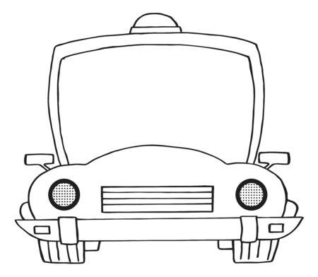 Outlined Cartoon Police Car Illustration