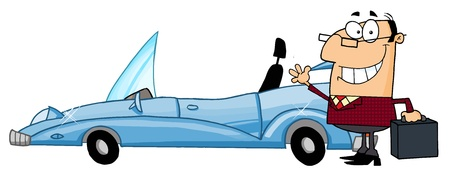 Businessman Waving Next To Convertible Car Stock Vector - 16446292