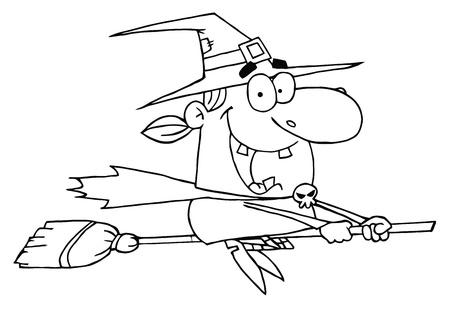 strega che vola: Delineato Wicked Halloween strega volante