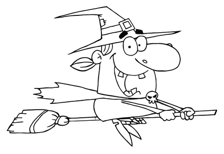 Outlined Wicked Halloween Witch Flying Vector