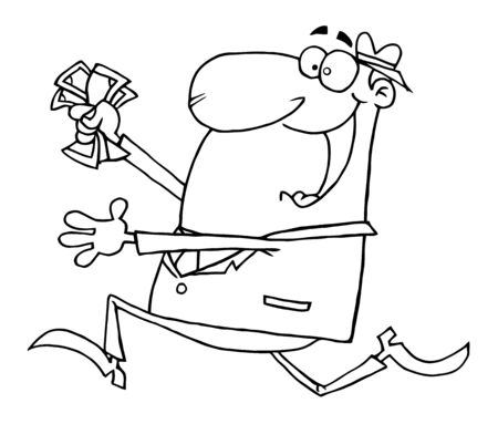 Outlined Happy Businessman Running With Dollars In Hand Vector