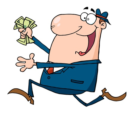 running nose: Happy Businessman Running With Dollars In Hand