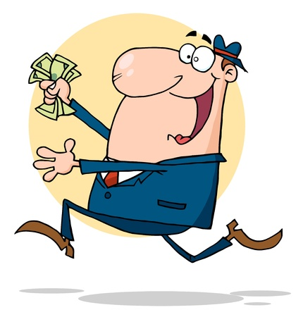 running nose: Businessman Running With Dollars In Hand