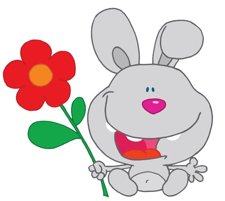 b day gift: Happy Bunny Holds Flower Illustration
