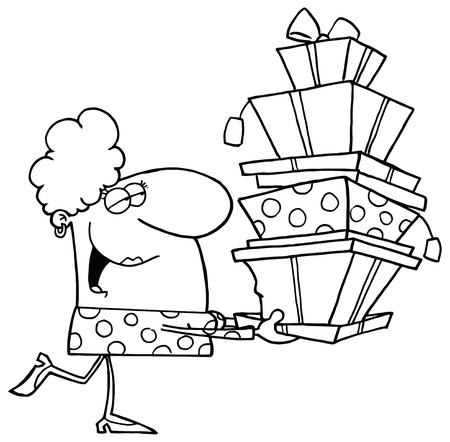 b day gift: Outlined Shopper Lady