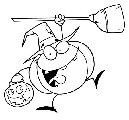 sorci�re halloween: D�crit la citrouille de Halloween Illustration