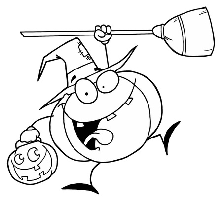 Outlined Halloween Witch Pumpkin Vector