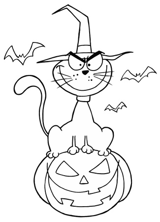 Outlined Cat on Pumpkin Vector