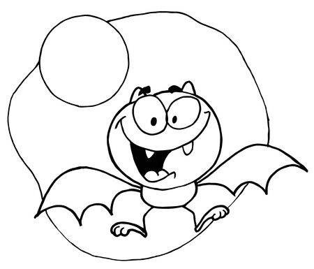 Outlined Flying Bat and Moon Vector