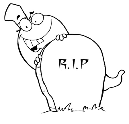 grave stone: Outlined Ghost and Grave Stone
