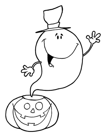 Outlined Ghost Over Pumpkin Vector