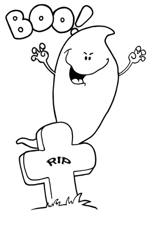 cute ghost: Outlined Booing Ghost at Grave Illustration
