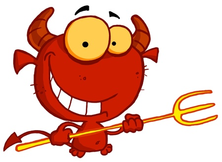 devilish: Grinning Yellow Eyed Red Devil With Horns, Holding A Pitchfork