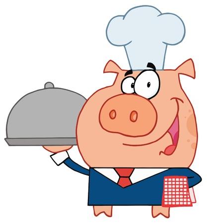 シェフの帽子で幸せなウェイター豚