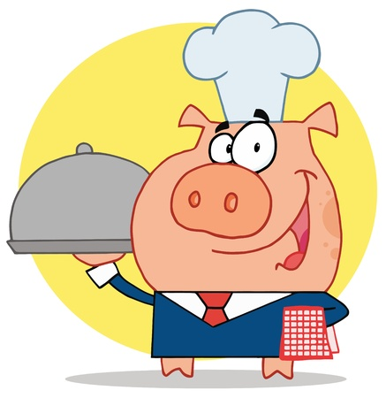 Waiter Pig In A Chefs Hat Vector