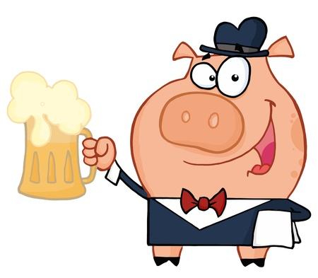 cerdo caricatura: Camarero del cerdo con la cerveza Vectores