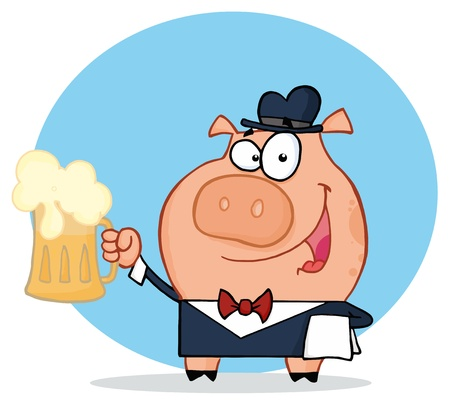 alcoholism: Happy Waiter Pig With Beer