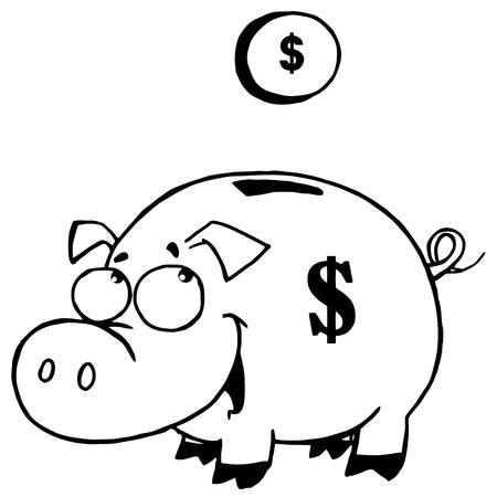 cerdo caricatura: Outlined Moneda Y Piggy Bank Vectores