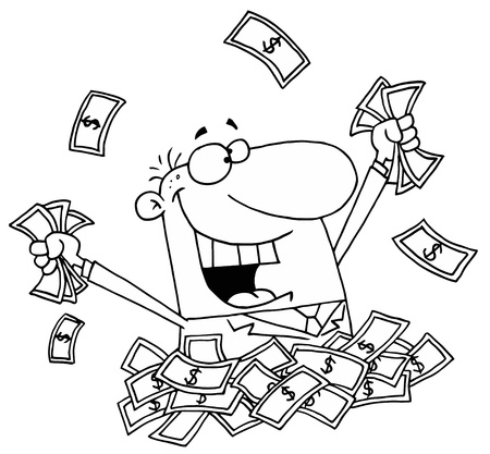 Outlined Man in a Pile of Money Vector
