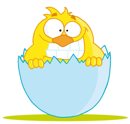 Yellow Chick With A Big Toothy Grin, Peeking Out Of An Egg Shell Stock Vector - 16511706