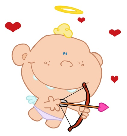 Cupid Flying With A Halo Above His Blond Hair, Aiming An Arrow Vector