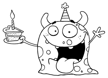 b day party: Outlined Birthday Monster Illustration