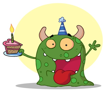 b day party: Spotted Green Birthday Monster Wearing A Party Hat And Holding A Slice Of Cake