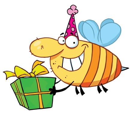 cartoon bug: Happy Birthday Bee Wearing A Party Hat And Flying With A Gift Illustration