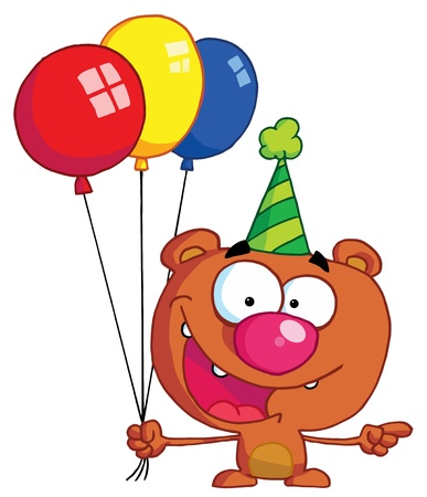 b day party: Birthday Bear In A Party Hat Pointing To The Right And Holding Colorful Party Balloons Illustration