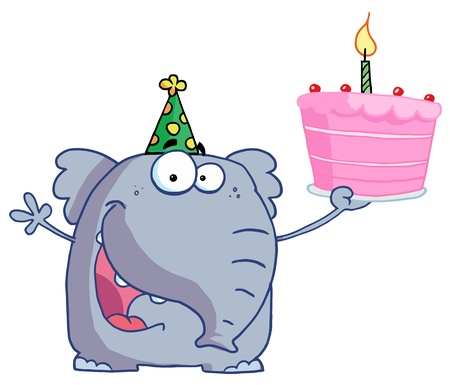 Happy Birthday Elephant In A Party Hat, Holding Up A Cake With A Lit Candle Stock Vector - 16511789