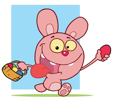 Energetic Pink Bunny Holding Up An Easter Egg And Carrying A Basket Stock Vector - 16511807