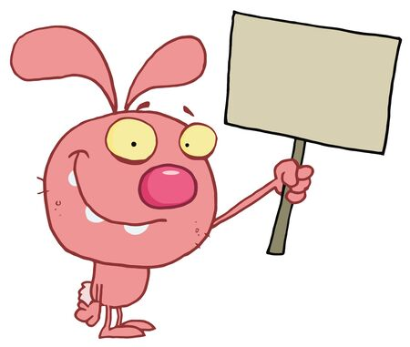 pink rabbit: Happy Pink Rabbit Holding Up A Blank Sign