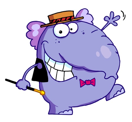 Happy Purple Elephant In Show Biz, Dancing A Jig While Entertaining Stock Vector - 16511723